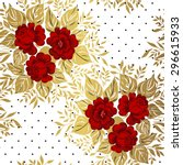 red roses on gold background.... | Shutterstock .eps vector #296615933