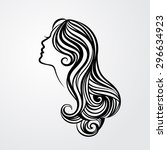 lady with a long hair portrait... | Shutterstock .eps vector #296634923