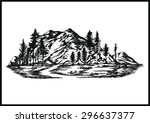 Hand Drawn Vector Mountain  ...