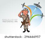 saluting army officer with... | Shutterstock .eps vector #296666957