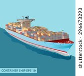 cargo ship with containers on... | Shutterstock .eps vector #296673293