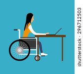 handicapped woman working with... | Shutterstock .eps vector #296712503