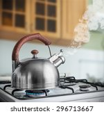 Kettle Boiling On A Gas Stove...