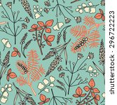 seamless pattern with grass.... | Shutterstock .eps vector #296722223