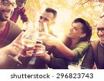 diverse people friends hanging... | Shutterstock . vector #296823743