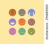 vector set of nine smile faces. ... | Shutterstock .eps vector #296885003