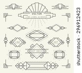 Art Deco Style Linear Geometric Labels and Badges Monochrome, Graphic Elements