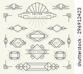 art deco style linear geometric ...