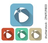 set of beach ball flat icon.