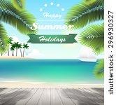 boardwalk on the sandy beach by ... | Shutterstock .eps vector #296930327