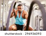young man working out with... | Shutterstock . vector #296936093