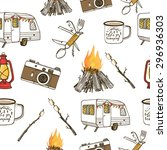 hand drawn camping seamless... | Shutterstock .eps vector #296936303