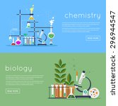 biology laboratory workspace... | Shutterstock .eps vector #296944547