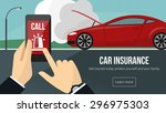 car insurance banner with man... | Shutterstock .eps vector #296975303
