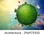 green planet earth covered with ... | Shutterstock . vector #296975333