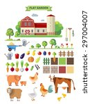 flat farm  vector set. elements ... | Shutterstock .eps vector #297004007