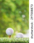 golf ball on a tee peg and golf ... | Shutterstock . vector #297008873