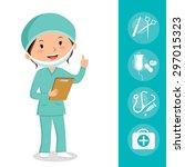 female surgeon. cheerful...   Shutterstock .eps vector #297015323