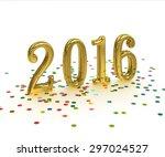 3d gold year 2016 on white... | Shutterstock . vector #297024527