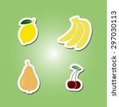 set of color icons with fruits... | Shutterstock .eps vector #297030113