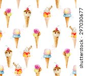 seamless pattern with ice cream ... | Shutterstock .eps vector #297030677