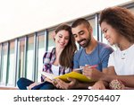 students sharing notes in the... | Shutterstock . vector #297054407