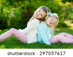 two cute little sisters having... | Shutterstock . vector #297057617