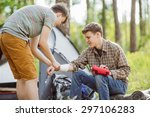 a person wrapping his friends... | Shutterstock . vector #297106283