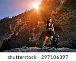 tourist with a backpack | Shutterstock . vector #297106397