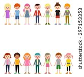 group of children set | Shutterstock .eps vector #297153353