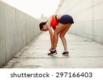 brunette runner woman tie laces ... | Shutterstock . vector #297166403