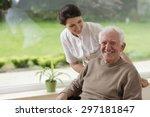 smiling senior man staying in... | Shutterstock . vector #297181847