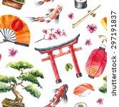 watercolor japan pattern.... | Shutterstock .eps vector #297191837