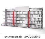 set of supermarket shelves with ... | Shutterstock . vector #297296543