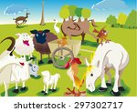 farm crazy animals in fields   | Shutterstock .eps vector #297302717