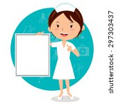 cheerful nurse with board.... | Shutterstock .eps vector #297303437