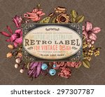 vintage vector card with... | Shutterstock .eps vector #297307787