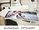 white classic wedding book and... | Shutterstock . vector #297316547