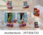 typical facade of the old... | Shutterstock . vector #297356723
