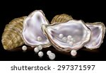 oysters shells with pearls on a ... | Shutterstock .eps vector #297371597