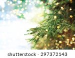 Stock photo closeup of christmas tree background 297372143