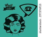 retro woman digital design ... | Shutterstock .eps vector #297376913