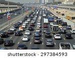dubai  uae   june 18  traffic... | Shutterstock . vector #297384593