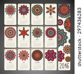 calendar 2016. vintage... | Shutterstock .eps vector #297436283
