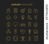 line ecology icons vector set... | Shutterstock .eps vector #297441893