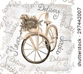 watercolor retro bicycle with... | Shutterstock .eps vector #297442007