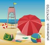 summer beach with sea  yellow... | Shutterstock .eps vector #297472733