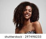 black woman smiling. afro hair   Shutterstock . vector #297498233