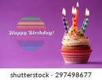 birthday cupcake with candles... | Shutterstock . vector #297498677