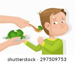 child does not want to eat... | Shutterstock .eps vector #297509753